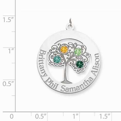 Sterling Silver Crystal Family Pendant - 4 Stones - AydinsJewelry
