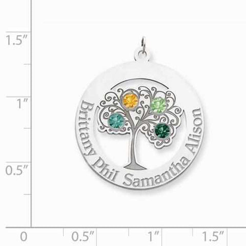 Image of Sterling Silver Crystal Family Pendant - 4 Stones - AydinsJewelry
