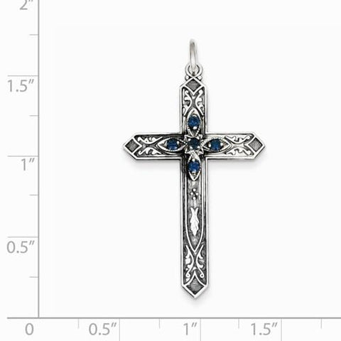 Image of Sterling Silver December Birthstone Cross Pendant - AydinsJewelry