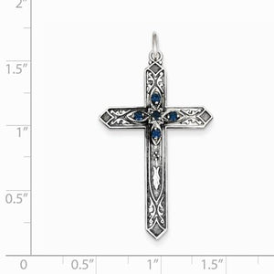 Sterling Silver December Birthstone Cross Pendant - AydinsJewelry