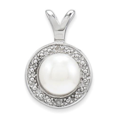 Image of Sterling Silver Diamond & FW Cultured Pearl Pendant - AydinsJewelry