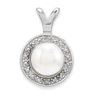Sterling Silver Diamond & FW Cultured Pearl Pendant - AydinsJewelry