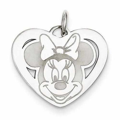 Sterling Silver Disney Minnie Heart Charm - AydinsJewelry