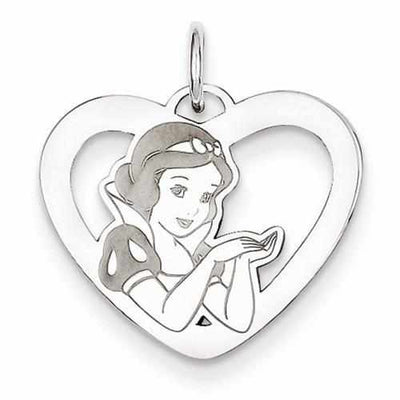 Sterling Silver Disney Snow White Heart Charm - AydinsJewelry