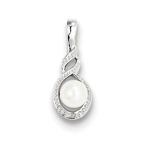 Image of Sterling Silver FW Cultured Pearl & Diamond Pendant - AydinsJewelry