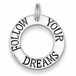 Sterling Silver Follow Your Dreams Circle Charm - AydinsJewelry