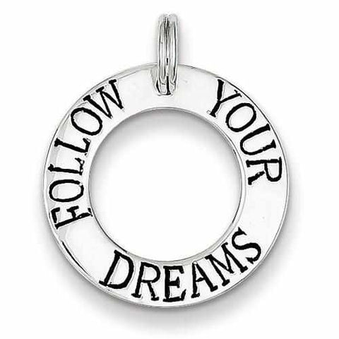 Image of Sterling Silver Follow Your Dreams Circle Charm - AydinsJewelry
