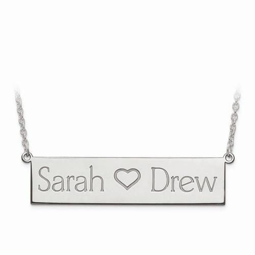 Sterling Silver Laser Polished 2 Name And Heart Bar Plate W/ Chain - AydinsJewelry