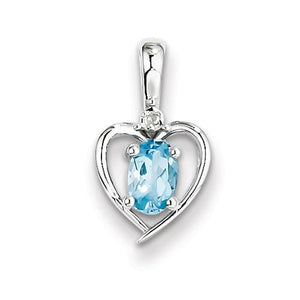 Sterling Silver Light Swiss Blue Topaz & Diamond Pendant - AydinsJewelry