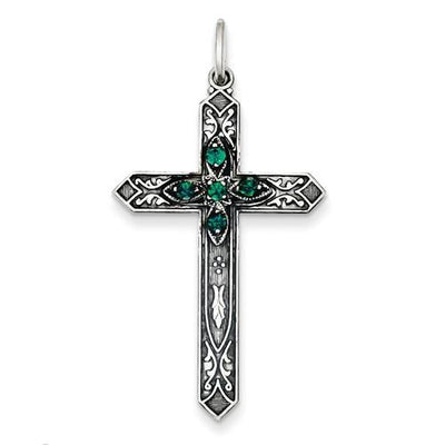 Sterling Silver May Birthstone Cross Pendant - AydinsJewelry