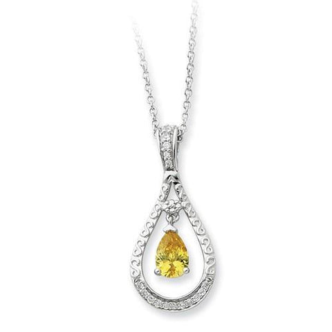 Image of Sterling Silver Nov. CZ Stone Never Forget Tear 18in Birthstone Necklace - AydinsJewelry