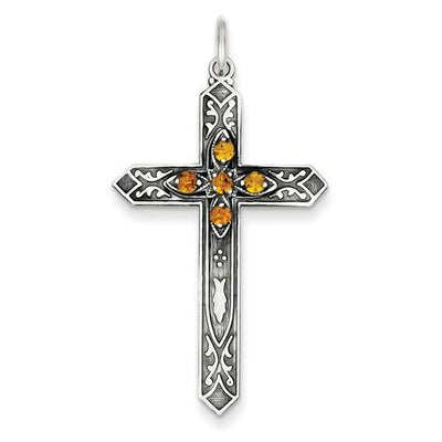 Sterling Silver November Birthstone Cross Pendant - AydinsJewelry