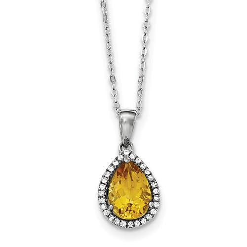 Sterling Silver Polished Citrine & CZ Necklace - AydinsJewelry