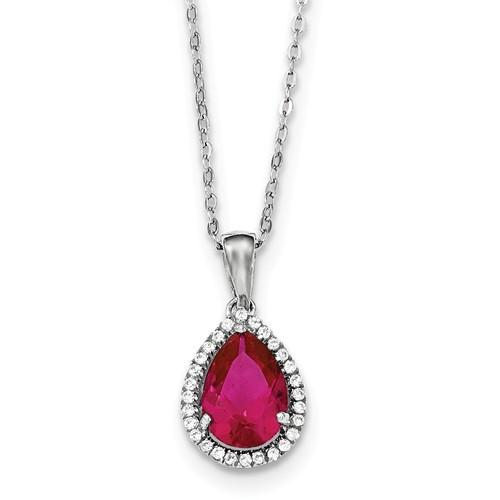 Sterling Silver Polished Created Ruby & CZ Necklace - AydinsJewelry