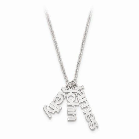Image of Sterling Silver Polished Name Charms Necklace W/ Chain - AydinsJewelry
