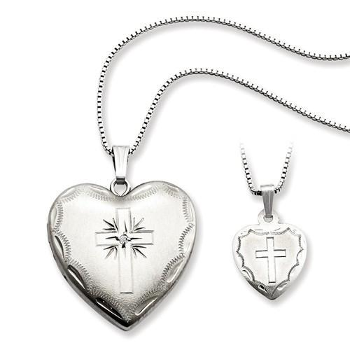 Sterling Silver Rhodium-Plated Diamond Cross Heart Locket & Pendant Set - AydinsJewelry