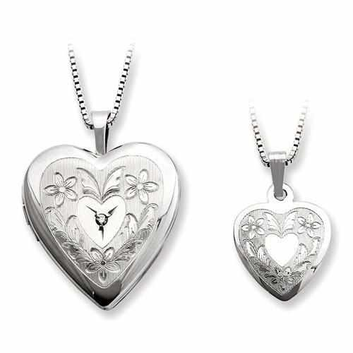 Sterling Silver Rhodium-Plated Diamond Polished Heart Locket & Pendant Set - AydinsJewelry