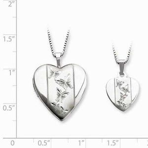 Sterling Silver Rhodium-Plated Polished And Satin Butterfly Heart Locket & - AydinsJewelry