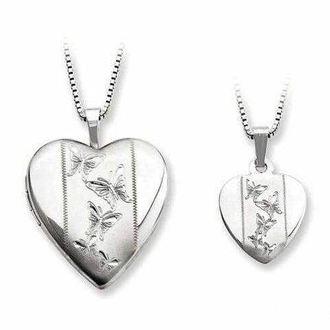 Image of Sterling Silver Rhodium-Plated Polished And Satin Butterfly Heart Locket & - AydinsJewelry