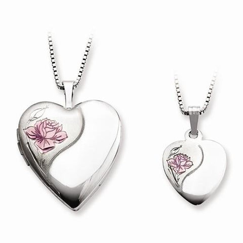Image of Sterling Silver Rhodium-Plated Polished And Satin Rose Heart Locket & Penda - AydinsJewelry