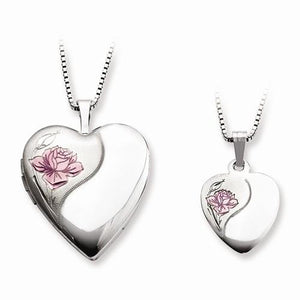 Sterling Silver Rhodium-Plated Polished And Satin Rose Heart Locket & Penda - AydinsJewelry