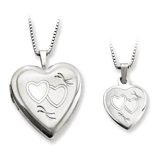 Sterling Silver Rhodium-Plated Polished And Textured Heart Locket & Pendant - AydinsJewelry