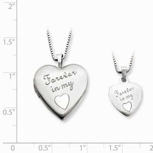 Sterling Silver Rhodium-Plated Polished Satin Forever In My Heart Locket & - AydinsJewelry