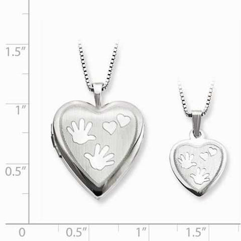 Image of Sterling Silver Rhodium-Plated Polished Satin Hand And Hearts Locket & Pend - AydinsJewelry