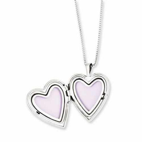 Image of Sterling Silver Rhodium-Plated Polished Swirl Design Heart Locket & Pendant - AydinsJewelry