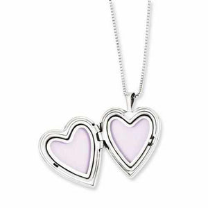 Sterling Silver Rhodium-Plated Polished Swirl Design Heart Locket & Pendant - AydinsJewelry