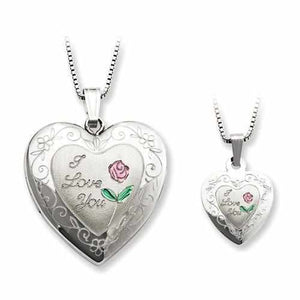 Sterling Silver Rhodium-Plated Rose I Love You Heart Locket & Pendant Neckl - AydinsJewelry