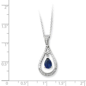 Sterling Silver Sept. Created Sapphire Never Forget Tear 18in Necklace - AydinsJewelry