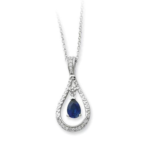 Image of Sterling Silver Sept. Created Sapphire Never Forget Tear 18in Necklace - AydinsJewelry