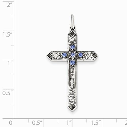 Sterling Silver September Birthstone Cross Pendant - AydinsJewelry