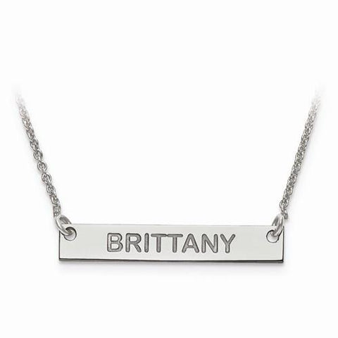 Sterling Silver Small Polished Block Letter Name Bar W/ Chain - AydinsJewelry