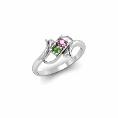 Sterling Silver Synthetic 2 Stone Mother's Ring - AydinsJewelry