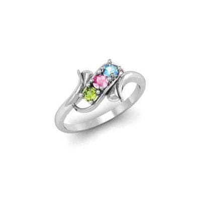 Sterling Silver Synthetic 3 Stone Mother's Ring - 3 Stones - AydinsJewelry