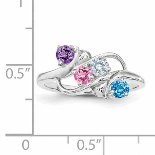 Custom Sterling Silver Mother's Engraved Ring W/ Synthetic Four Birthstones
