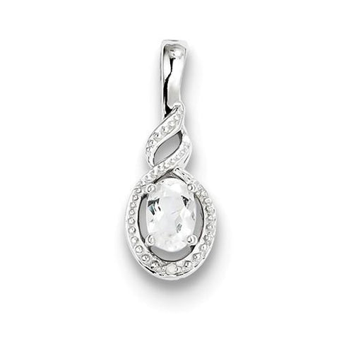 Image of Sterling Silver White Topaz & Diamond Pendant - AydinsJewelry
