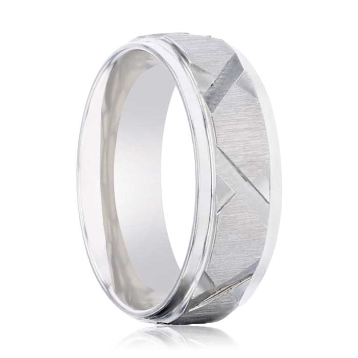 VIRAGE Raised Horizontal Etch and Diagon-Shaped Cuts Centered Titanium Men's Wedding Ring With Polished Step Edges - 8mm