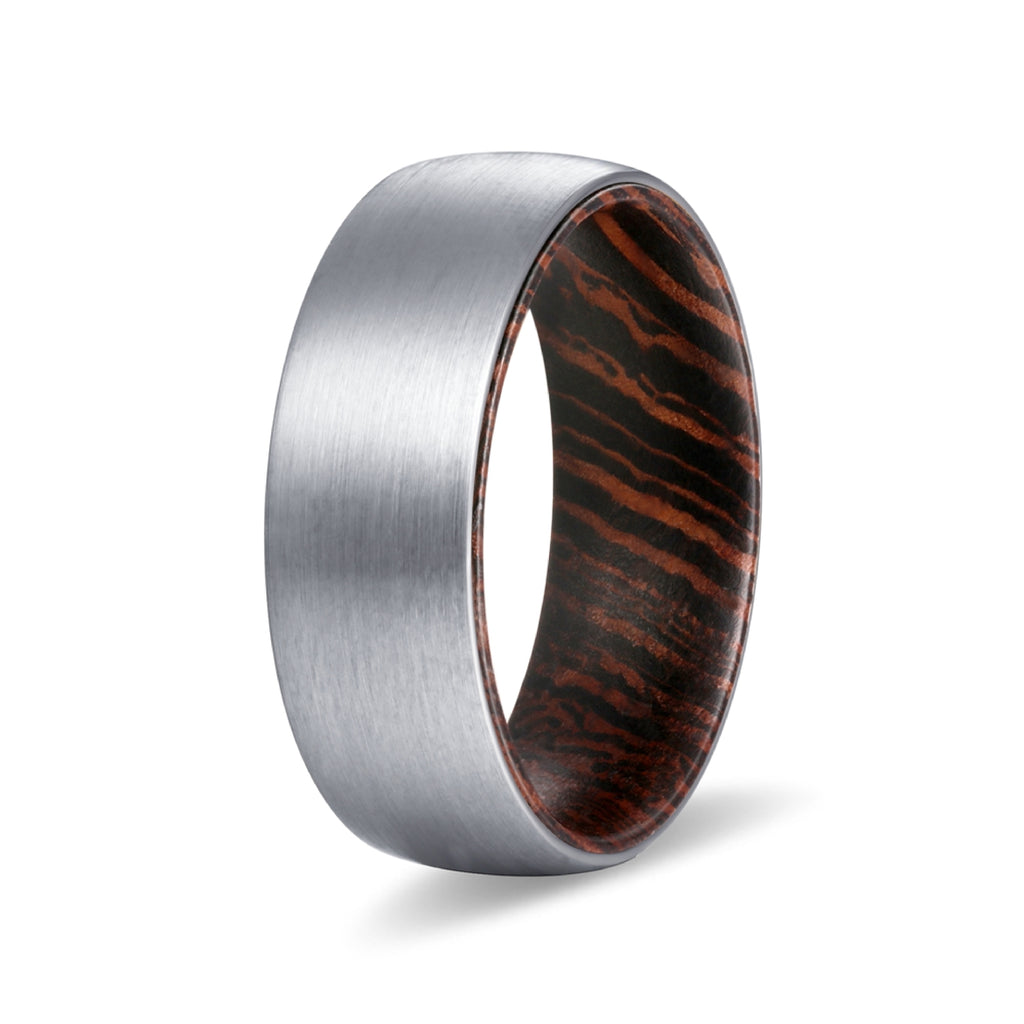 SEED Silver Tungsten Domed Brushed Ring with Wenge Wood Inlay Ring
