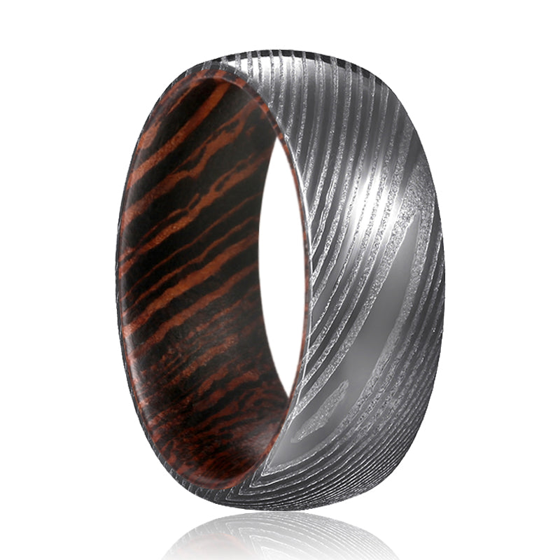 HARVESTER Gunmetal Damascus Steel Ring with a Comfort-Fit Wenge Wood Sleeve Inlay Ring