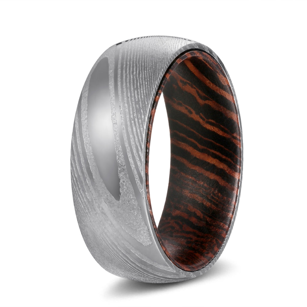 Genuine Damascus Steel Silver Ring with Wenge Wood Sleeve Inlay