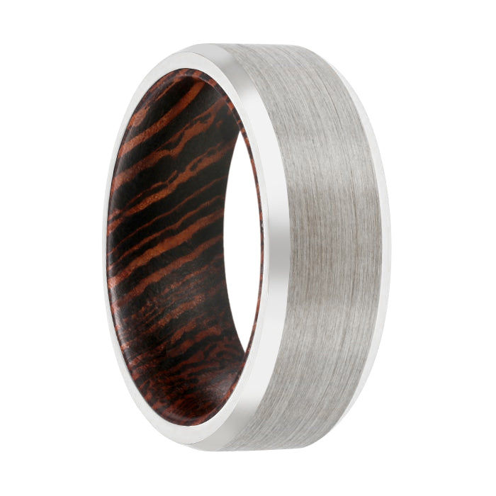 CHAMP Tungsten Silver Beveled with a Comfort-Fit Wenge Wood Sleeve Inlay Ring