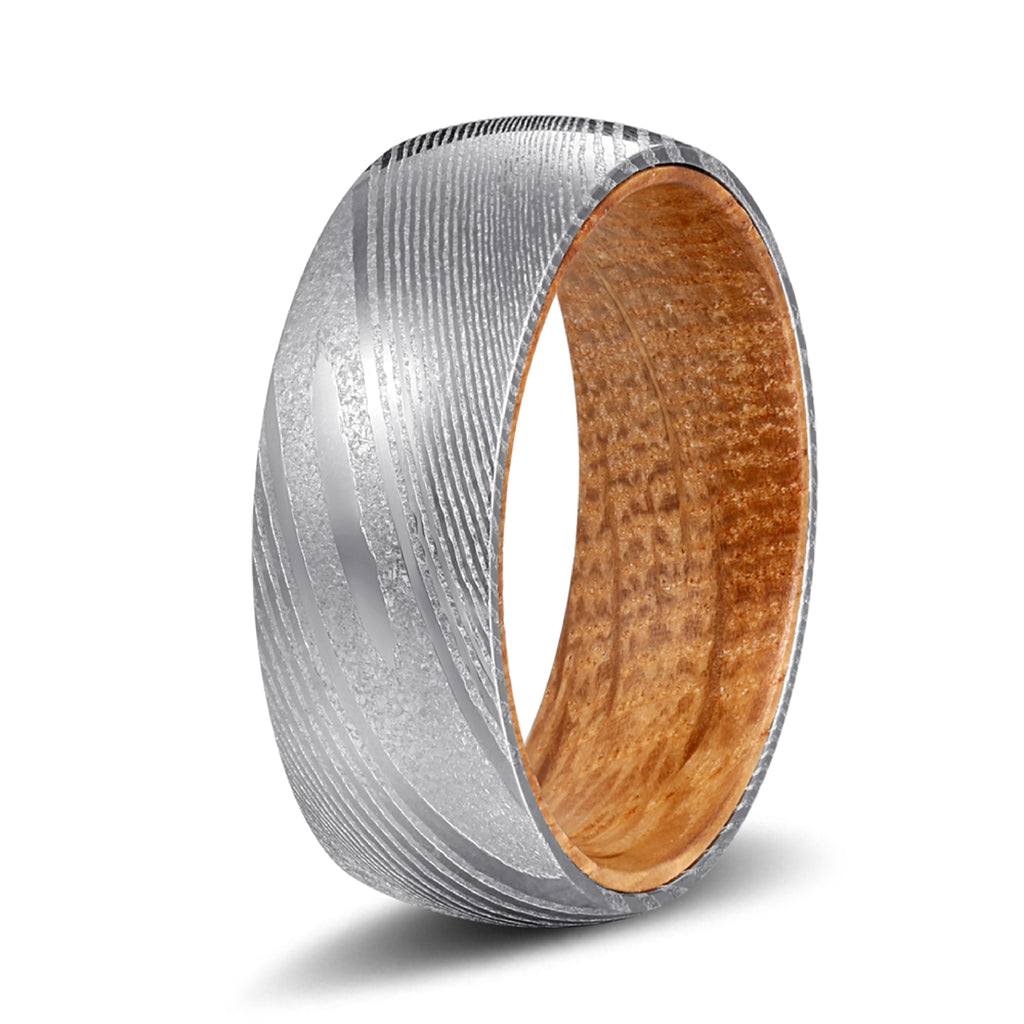 Genuine Damascus Steel Silver Ring with Whiskey Barrel Wood Sleeve Inlay
