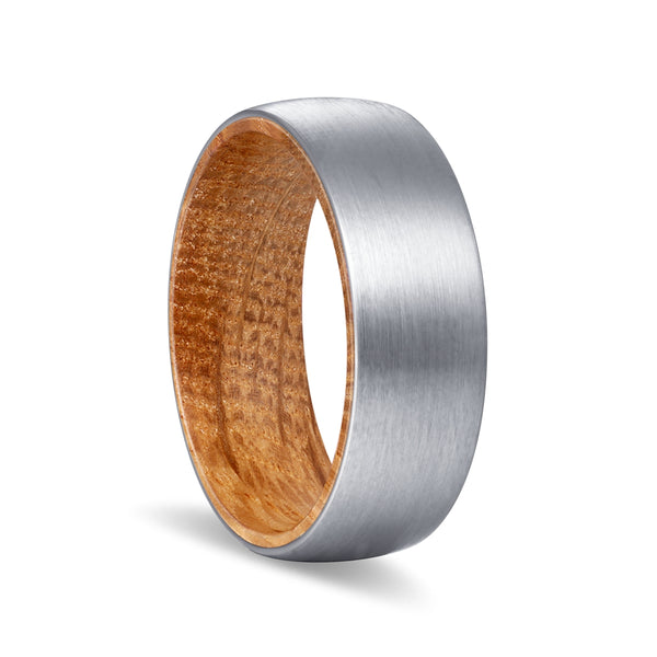 Silver Tungsten Domed Brushed Finish with Whiskey Barrel Wood Inlay Ring