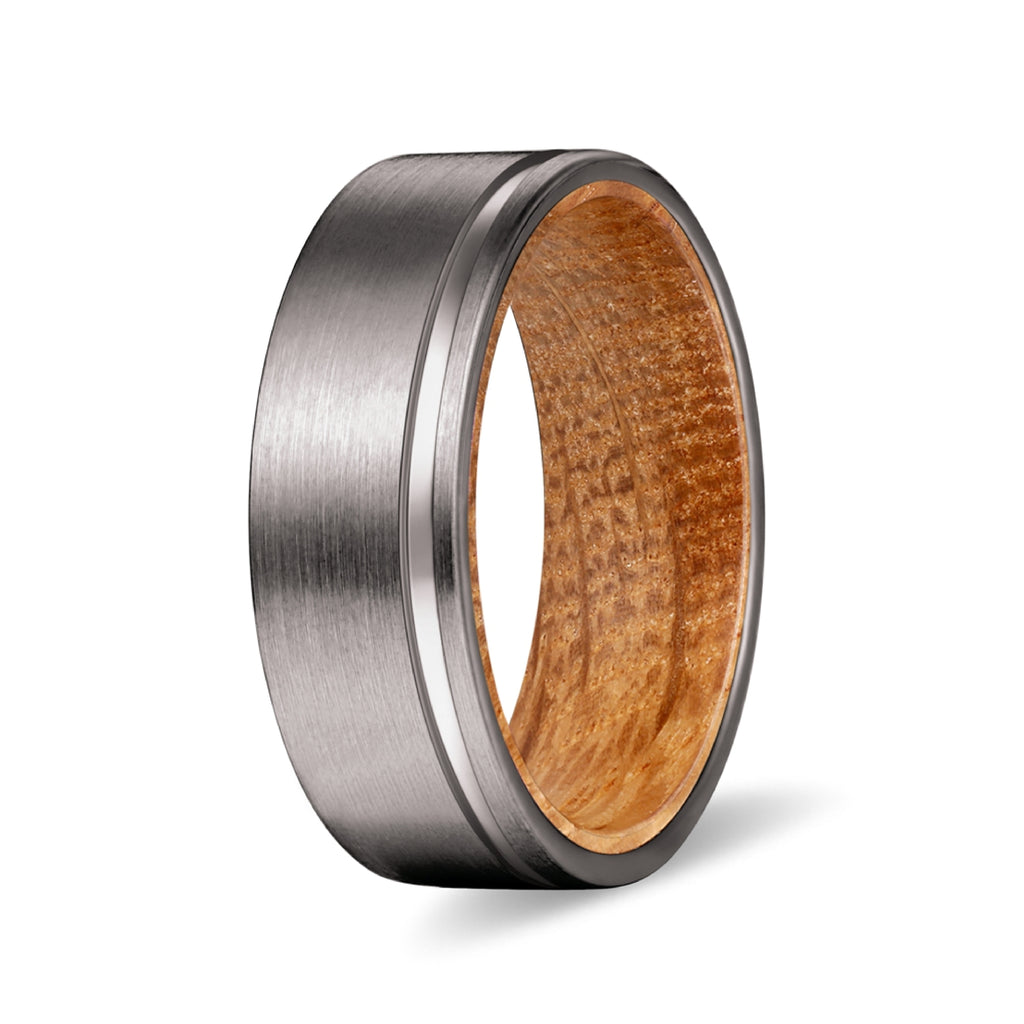 Gunmetal Flat Grooved Ring with Whiskey Barrel Wood Sleeve Inlay Ring