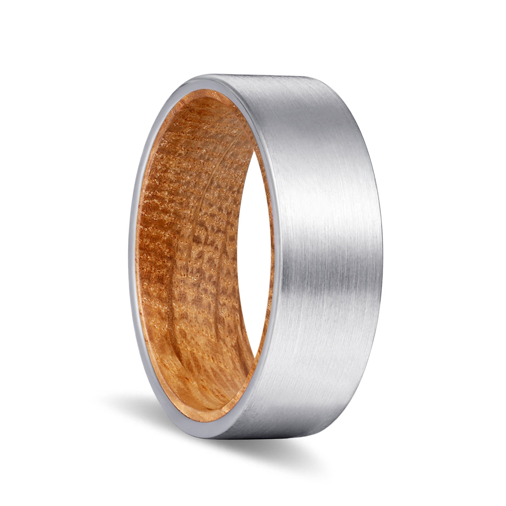 Silver Flat Tungsten Brushed Finish with Whiskey Barrel Wood Inlay Ring
