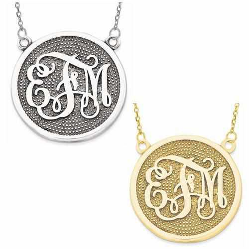 Monogram w/ Beaded Background - AydinsJewelry