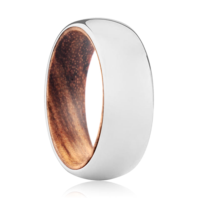 LIBERTY Tungsten Silver Shiny with a Comfort-Fit Zebra Wood Sleeve Inlay Ring